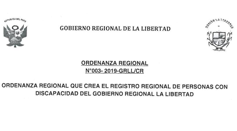 Creación el Registro Regional de Personas con Discapacidad del Gobierno Regional La Libertad