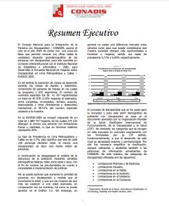 Encuesta Nacional de Hogares sobre Discapacidad en Lima Metropolitana y Callao – EHODIS 2005