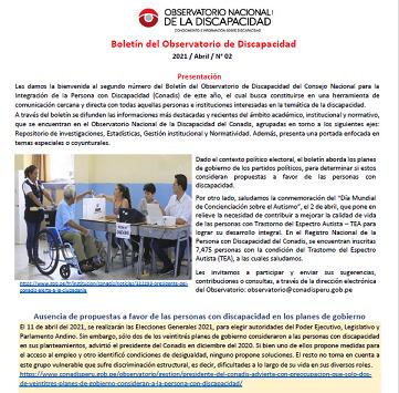 Segundo número del Boletín del Observatorio de Discapacidad